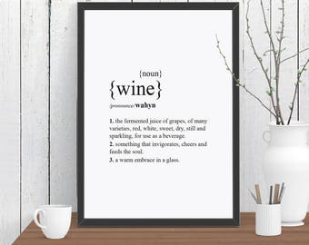 Wine Dictionary Definition Quote Print, Beer Wall Art, Room Decor, Modern, Poster, Gift for Him A4 A3 A2 8x10 11x14 12x18 16x20