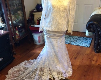 Vintage Alfred Angelo Downton Abbey Wedding Dress Size Medium