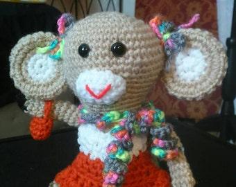 """Stuffed Animal, Crocheted Monkey (""""Maddy"""")"""