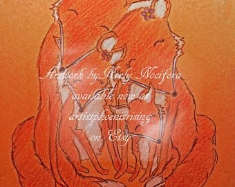 Sweet Fox Family by Artist Keely Nocifora