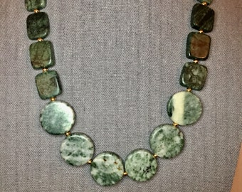 """Jasper, Marble, Gold and Aventurine beaded necklace 20"""""""