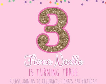 Confetti birthday party invitation digital file