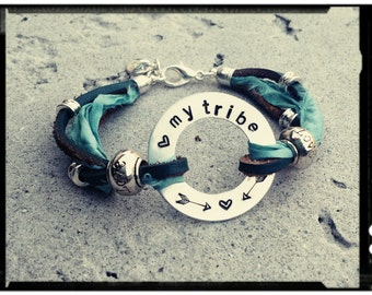 My Tribe - Teal Leather & Sari Silk Wrap Bracelet//Silver Bead Accents//Hand Stamped Ring- Yoga Bracelet/Boho/Hippie/Gypsy - Gift for Her