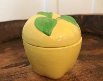 Vintage Yellow Apple Ceramic Lidded Keepsake Trinket Dish