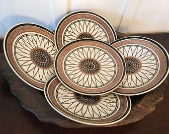 Vintage Cavalier Ironstone Brown-Eyed Susan or Casa del Sol 10 Inch Dinner Plates Set of 6 | Made by Royal China
