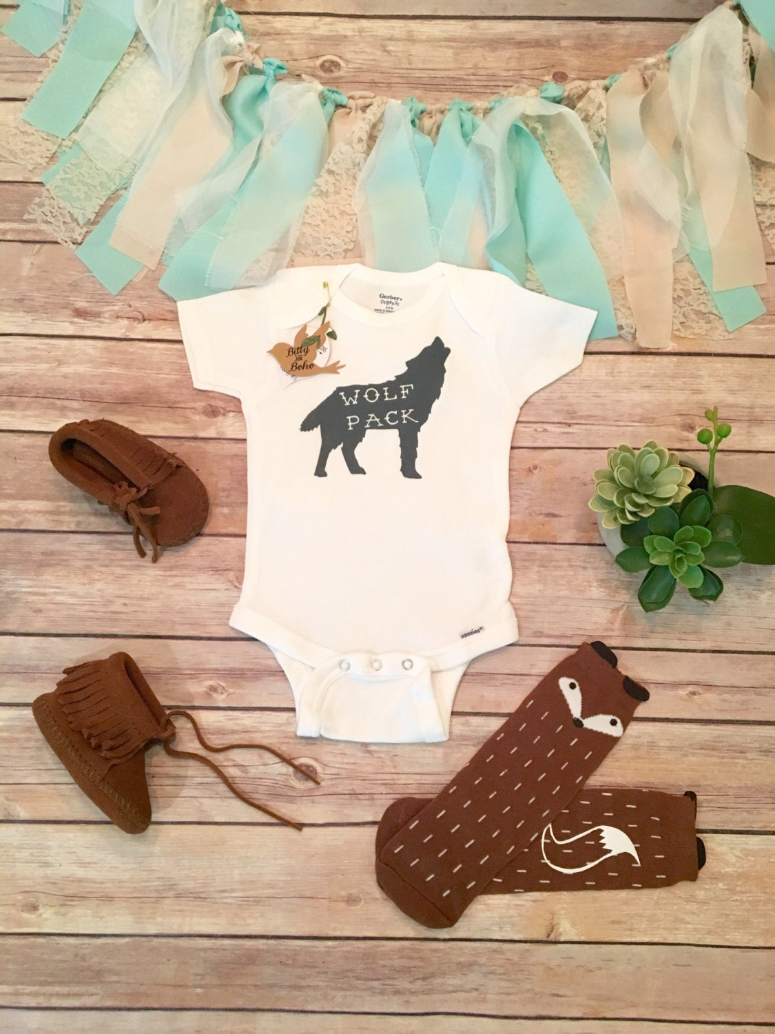 WOLF PACK Animal Baby esie Baby Boy Clothes Baby Clothes