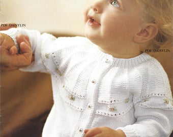 PDF Instant Download   Babys Pretty Cardigan  and Socks Knitting Pattern   (40)