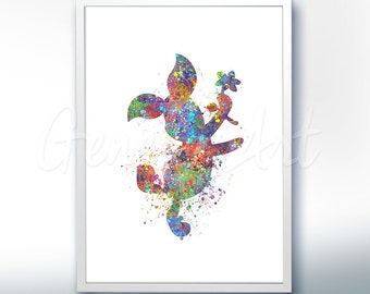 Disney Winnie the Pooh Piglet Watercolor Poster Print - Wall Decor - Watercolor Painting - Watercolor Art - Kids Decor- Nursery Decor