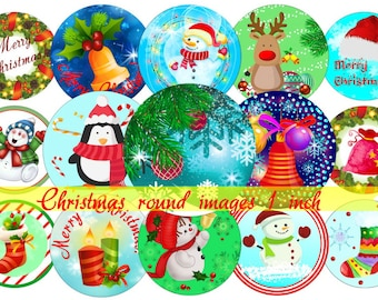 Christmas Bottle Cap Images 1 INCH Round Images Christmas party 1 inch Christmas image Printable Christmas round images Christmas Download