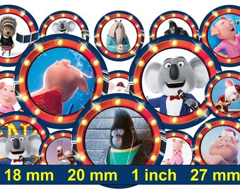Sing Bottle Cap Images Sing 1 INCH Round Images Sing 1 inch Sing image Printable Sing round images Sing Instant Download Sing 18 20 mm 27 mm