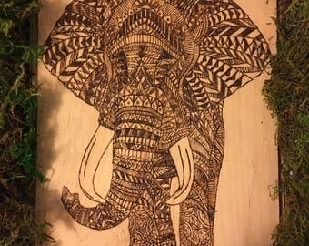 Tribal Elephant Pyrography (Ready to Ship!)