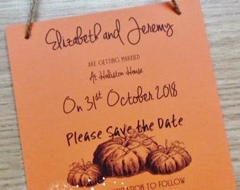 10 Pumpkin Personalised Hanging Postcard Wedding Save the Date/Invitation