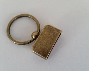 100 Piece Set Screw in 1 inch keychains Antique Gold Key fob hardware sets designer key chain hardware with screws