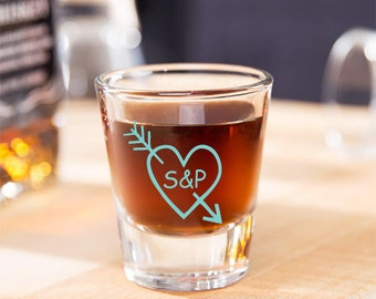 24 pcs Love Arrow and Heart Printed Personalized Shot Glass - Wedding Favor  (JM4587228-H5057)