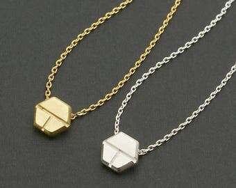 Fractional Hexagon Necklace / divided hexagon, hexagon charm, geometric jewelry, non congruent division, trapezoid / N0-81