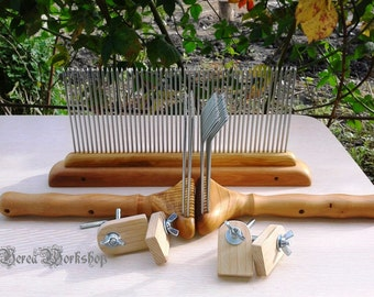 set Blending Hackle Single row and carding comb with mounts