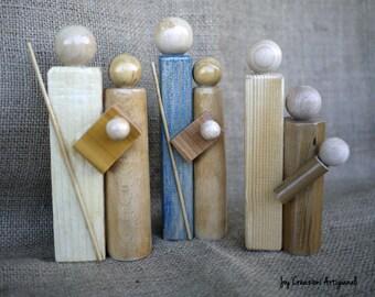 READY TO SHIP Wood Nativity, Rustic Nativity,Set Christmas Nativity Handmade, Nativity Set,Joseph Mary Baby Jesus Figures