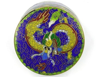 Chinese Cobalt Cloisonne Dragon Trinket Box With Original Box