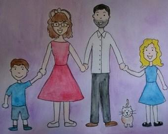 Personalised Watercolour Illustration Portraits