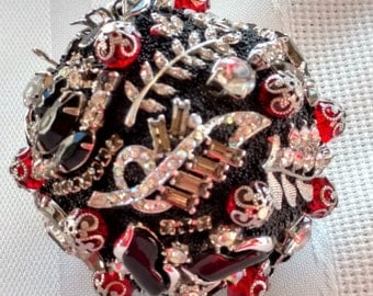 Jewelry Ornament, Jeweled Orb, Jewelry Sphere, Home Decor, Christmas Bulb, Handmade OOAK, Art Collectible, Costume Jewelry Art, Heirloom Art