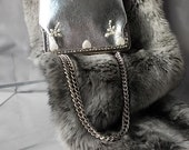 Silver Lurex Evening Handbag Made in Italy Pearlised Hearts   Butterflies Two Way Chain Evenings Out Feminine Vintage Silver Bag.