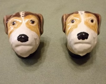 Vintage Rosemeade Fox Terrier Head Salt and Pepper Shakers