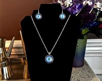 "Glass Jewelry Set Blue Dome Mandala Cabochon Pendant, 1"" Diameter, Earrings 3/4"" Diameter Silver Necklace 20"""
