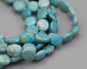 "Natural Turquoise Gemstone Oval Beads 11x12x5mm 16"" Strand SKU-TUR-10"