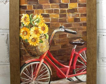 Framed Oil Painting Flower Oil Painting Framed Art Original Art Bike Painting Sunflowers Canvas Art Bicycle Painting Home Decor