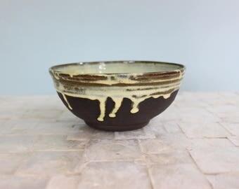 Perfect breakfast bowl | Dark chocolate stoneware bowl with sunshine yellow glaze