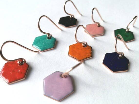 Modern colorful enamel geometric earrings, hexagon, glossy, copper, handmade, Nickel free sterling silver earwires, rose gold vermeil plated