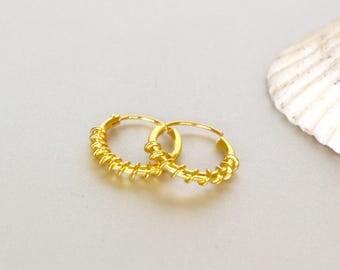 Gold Hoops, 12mm Bali Hoop, Piercing Earrings, Bohemian Earrings, Minimal Jewelry, Everyday Hoops, Gift Hoops, Wirework Hoops(SES61)