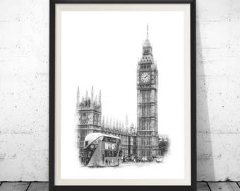 London Skyline, Pen and Marker Art, Architect Gift, Architecte Drawing, City Landscape, Pen Marker Drawing, Abstract Art, Wall Decor