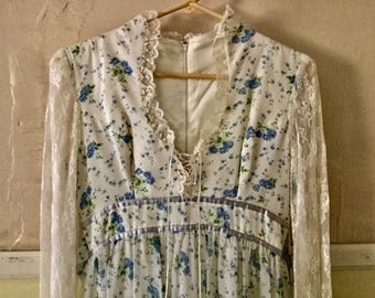 1970s Gunnie Sax Style Maxi Dress With Blue Roses and Lace Sleeves Size 6 to 8