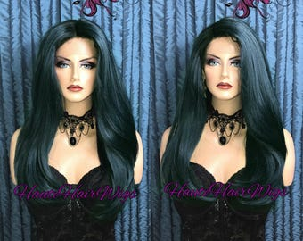 Dark Teal Ombre Human Hair Blend Straight Lace Front Wig - Marina