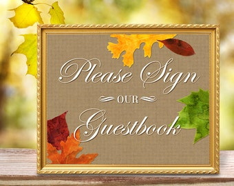 Please Sign Our Guestbook Printable 8x10 Sign - Fall Wedding Autumn Leaves Watercolor on Kraft Background - Reception - Instant Download