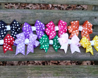 Polka-Dot Hair bows with tails (3 inch)