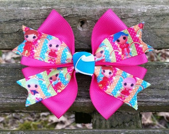 Lalaloopsy pink/blue/lime Hair Bow (4 inch)