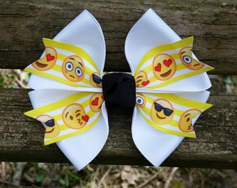 Emoji Faces black/white/yellow Hair Bow (4 inch)