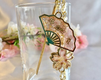"Japanese hair  jewelry Kanzashi ""sensu and Sakura cherry blossom"""