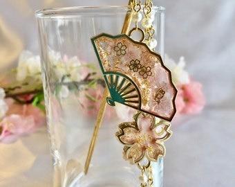 "Japanese hair  jewelry Kanzashi ""sensu and Sakura cherry blossom"""