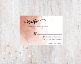 Response Card - Pink Watercolor {Customized Printable Invitation}