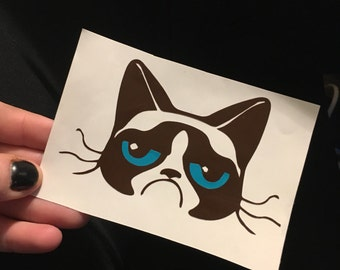Grumpy Cat Vinyl Sticker - For Laptop or Car