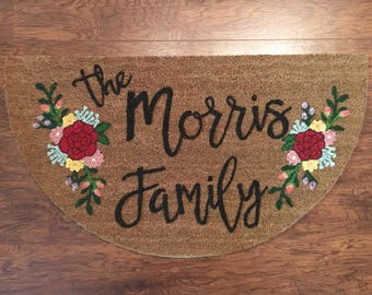 Chic Floral | Personalized Door Mat | Free-hand painted