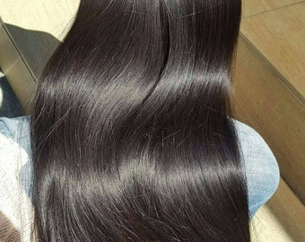 "Indian Remy hair,22"",Off black,Natural color,Clip in extensions,Long hair"