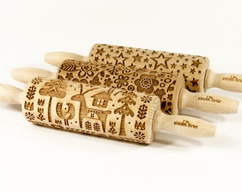 Set of 3 MIDI rolling pins - CHOOSE ANY 3 of all our my patterns