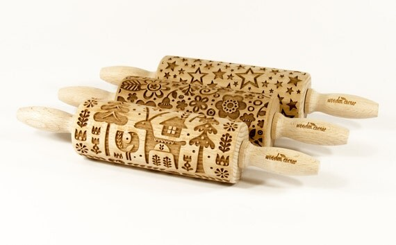 Set of 3 Patterns MIDI rolling pins ! SET of ANY 3 Rolling Pins Choose any 3 rolling pin you want