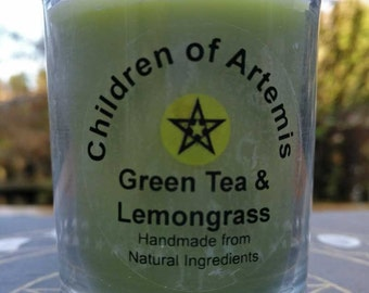 Green Tea & Lemongrass Handmade Soy Wax Candle in Glass Container / Soy Candle