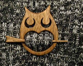 Owl wooden shawl pin, Scarf pin, Hair pin