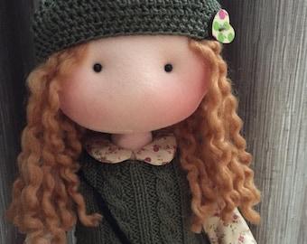 Handmade cloth doll - Rag doll - Handmade fabric doll - Rag doll with accesoires